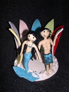 Brigette Knill Mermaid & Surfer Candle Holder